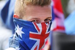 An anti-Islam protestor at the Reclaim Australia Rally in Melton (Herald Sun).